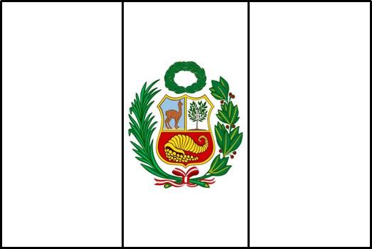 Bandera de Perú para colorear con escudo a colores