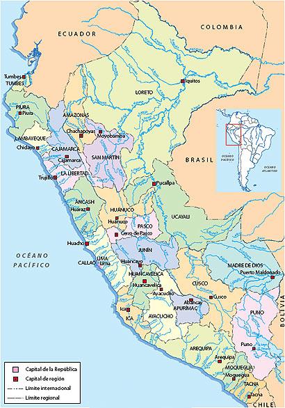 Departamentos del Perú y sus capitales