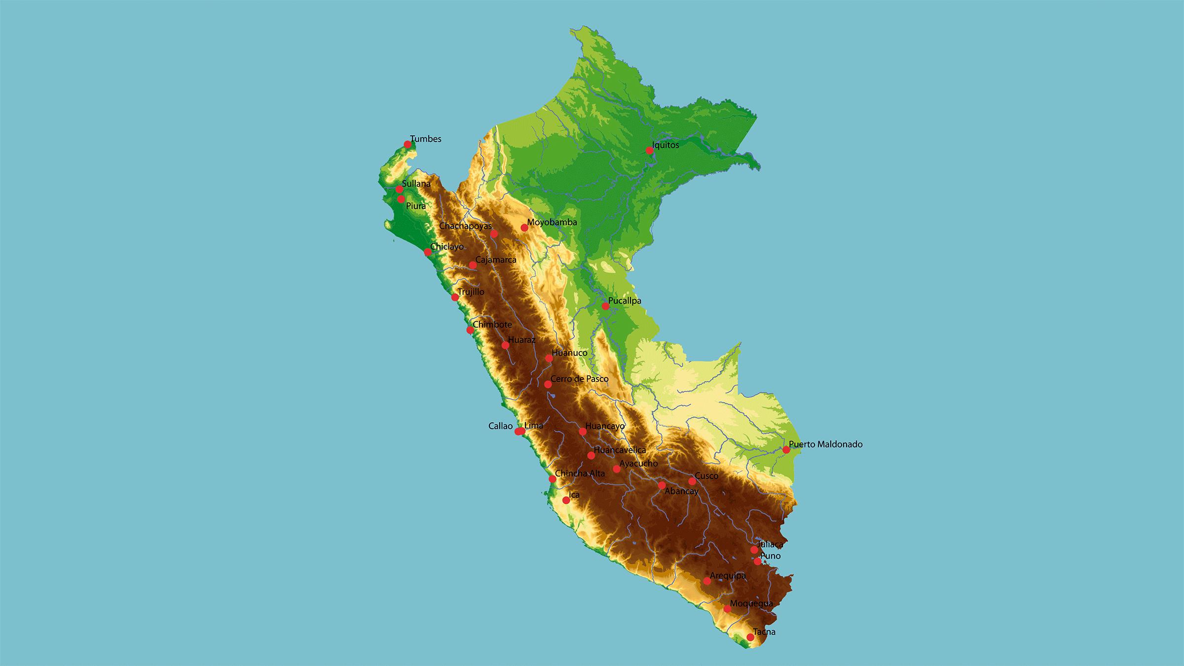 mapa físico de perú
